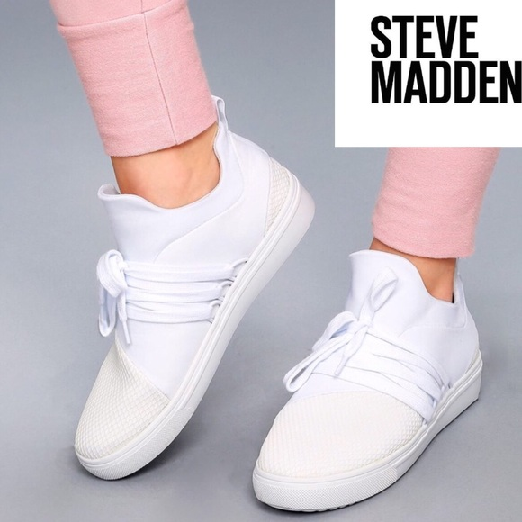 da7abb225ef Steve Madden White Knit Lancer Sneakers